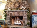 Stone Fireplace with Gas Logs