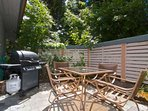 Private patio with Gas BBQ and seating area