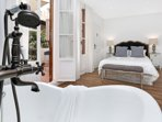 Ensuite master bedroom with vintage bath and direct exit to the terrace