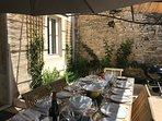 Shady terrace for alfresco dining.