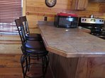 Counter with bar stools