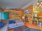 Wooden walls create a quintessential cabin ambiance.