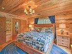 Wood furnishings fill each room.