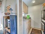 Assemble favorite snack trays in the well-equipped kitchenette.