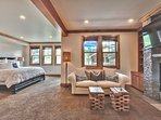 Level 2 Master Bedroom 2 with King Bed, Pull-Out Couch, Gas Fireplace, and 55' Smart TV