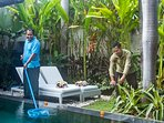 Mr. Abu the pool attendant and Mr. Wayan the gardener of Villa Delice