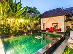 Romantic pool set up in the villa
