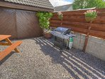 Private rear garden with second picnic table and gas B.B.Q.  A real sun trap.