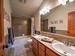 Draw a bubble bath in the first full bathroom.