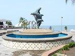 Fountain overlooking the ocean