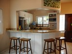 Bar area dining on granite top counters