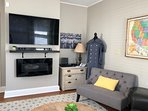 55' SMART TV with cable  and Free HBO and Fireplace Heater with Mood Lighting