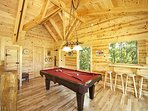 Lofted Game Room with Pool Table at Over The Rainbow