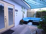 Your front entry is also a private patio for outdoor lounging.