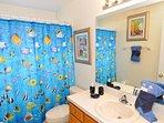 Family bathroom between bedroom 5 & 6.  Bath with shower over