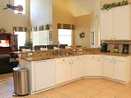 Open plan kitchen with granite counters