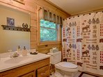 Upstairs full bath is clean, bright. Instant, tankless hot water for hot, high pressure showers!