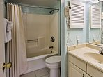 Freshen up in the remodeled master bath.