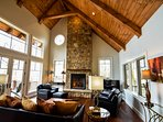 Enjoy the beautiful views of Mount Mitchell and Roan Mountain from the comfort of the living room #fireplace