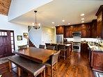 open floor plan; view of kitchen from living room