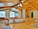 The spacious loft has 4 trundle beds and can sleep 8 people. There is also a wet bar, a full bathroo