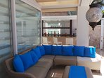 The very sociable seating area at JaySea; near the bar, the pool and the dining area