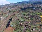 De zeer rustige en landelijke omgeving van Casa Demetria (in de cirkel). 1 km onder Puntagorda.
