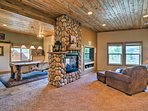 Cozy up to the gas fireplace as you relax in the plush chairs.