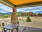 This vacation rental cabin sleeps 7 and boasts mountain views from the patio.