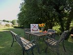 Enjoy riverside alfresco dining only a short distance from the cottage...