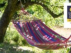 Relax in the hammock with views across orchard and river