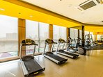 Free weight and cardio area can help burn some calories while traveling