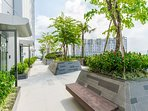 A big terrace with green garden is a place to enjoy some time with your companion