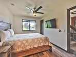 Master Bedroom with Queen Bed, 50' Samsung Smart TV and Bath