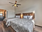 Upper Level Bedroom 2 with Two Queen Beds and Full Bath with Sink and Separate Tub/Shower Combo