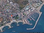 Location of our beach front apartments, just a few minutes walk to the Puerto Banus marina