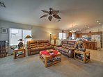 Up to 8 guests can spend their days relaxing on the couches.