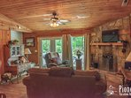 Living Room and Wood Burning Fire Place