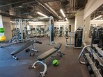 24-hour fitness center with yoga studio