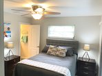 Guest bedroom, queen bed, cable t.v., walk in closet & private bathroom off of the bedroom.