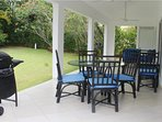 Outside Patio Area, w/BBQ Grill, Dinette Set, Ceiling Fans, and Lounge Chairs,