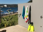 Our Hot Beach Shower & foot tap available to guests