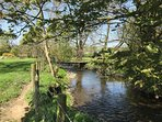 Stream and footbridge on property