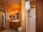 Main level bathroom with walk-in shower - Washer/Dryer available for guest use.