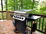 New, 5-burner gas grill with side burner purchased in June 2018 for your barbecue with a view!