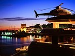 Helicopters on the most luxurious yachts in Puerto Banus harbour