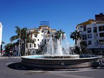Fountain at the entrance of Puerto Banus Harbour just a few minutes walk from our apartment