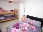 Bed 3, 1 x double and 1 x set single bunk beds