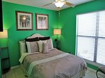 Bedroom 3 w/Queen & 40' Smart TV on wall