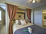 The luxurious queen bed will shepherd you right to sleep.